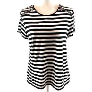 Michael Kors black&white striped short sleeve top